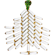 Dominique Snowy White Christmas Tree Pin Brooch