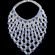 Dominique HUGE Blue Rhinestone Bib Necklace