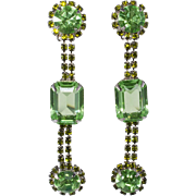 Dominique Peridot Green Rhinestone Dangle Pierced Earrings