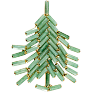 SALE Dominique Jade Green Christmas Tree Pin Brooch