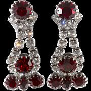 Dominique Red Clear Rhinestone Drop Earrings