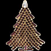 SALE Dominique Purple Rhinestone Christmas Tree Pin Brooch