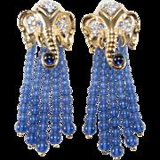 Elizabeth Taylor Elephant Walk Dangle Earrings 1993 Vintage