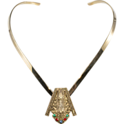 Egyptian Revival Art Deco Dress Clip w/ Collar Necklace