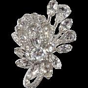 Eisenberg Clear Rhinestone Floral Brooch Pin