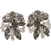 SALE Eisenberg Gray & Clear Rhinestone Earrings