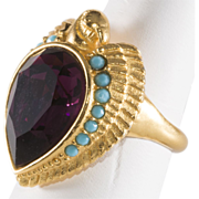 Elizabeth Taylor Egyptian Falcon Purple Rhinestone Ring Size 8