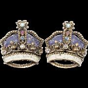 1950s Rhinestone Crown Earrings