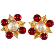 Philippe Ferrandis Red Glass & Pearl Earrings