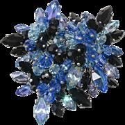 French Designer Blue Rhinestone Brooch with Dangle Beads