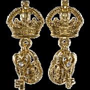 R.J. Graziano Lock Key & Crown Rhinestone Earrings