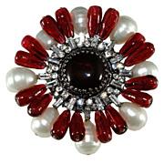 Gripoix Paris Red Glass w/ Rhinestones & Faux Pearls Brooch Pin