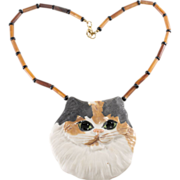 Carol Halmy Calico Cat Necklace