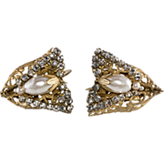 Haskell Half Bow Pearl Rhinestone Earrings