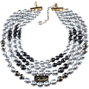 SALE Miriam Haskell Gray Pearl Four Strand Necklace