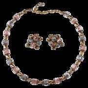 SALE Miriam Haskell Pink & Purple Bead Necklace Earrings Set