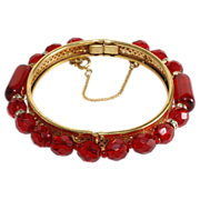 SALE Miriam Haskell Red Bead & Rhinestone Bangle Bracelet
