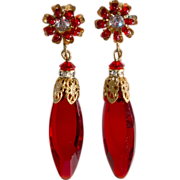 SOLD Miriam Haskell Red Glass Dangle Earrings