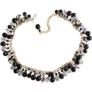 Hobe' Black Iridescent Dangle Bead Necklace