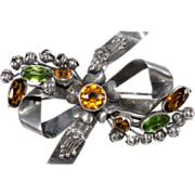 "Hobe' Sterling 3 1/2"" Bow Brooch Fall-Toned Rhinestones"