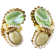 Hobe Green Beaded Cluster Earrings