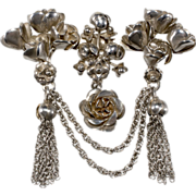 Hobe Sterling Rose & Tassel Brooch Pin