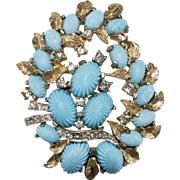 Jomaz Turquoise Blue & Rhinestone Brooch Pin Vintage 1960s