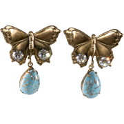 SALE PENDING Joseff of Hollywood Butterfly Earrings Turquoise Blue