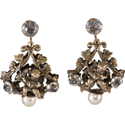 Joseff of Hollywood Cherub Dangle Earrings with Rhinestones