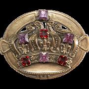 SALE Joseff of Hollywood Purple & Red Rhinestone Crown Brooch Pin