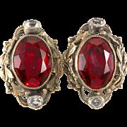 Joseff of Hollywood Ruby Red Rhinestone Earrings