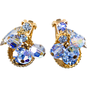 Juliana D&E Half Cup Blue Rhinestone Earrings