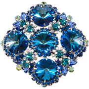 Juliana Bermuda Blue Rivoli Brooch Pin