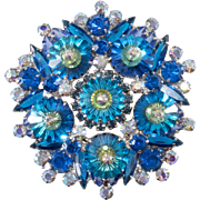 Juliana Blue Iridescent Margarita Rhinestone Brooch Pin Vintage