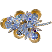 Juliana D&E Half Cup Blue Rhinestone Brooch Pin