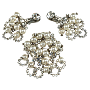 SALE PENDING Juliana Pearl & Rhinestone Dangles Brooch Earrings Set