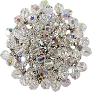 Juliana LARGE Clear Rhinestone Brooch w/ Bead Dangles