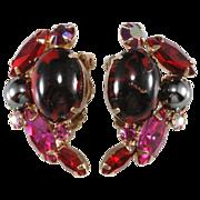 SALE Juliana Red & Pink Art Glass Earrings