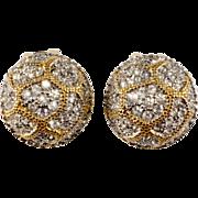 SALE K.J.L. Rhinestone Button Earrings