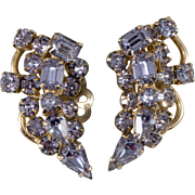 Kramer Alexandrite Blue Purple Rhinestone Earrings 1950s