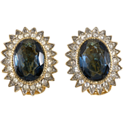 SALE Les Bernard Sapphire & Clear Rhinestone Earrings