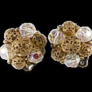 SALE Lisner Crystal & Filigree Bead Earrings