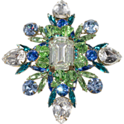 Marie Ferra' LARGE Blue & Green Rhinestone Brooch