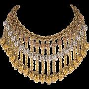Monet Jewelers 1930s Tri-Color Dangles Bib Necklace