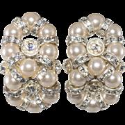 Monette of Paris Faux Pearl Rhinestone Figure Eight Earrings French