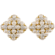 Monette Paris LARGE French Faux-Pearl Rhinestone Cluster Earrings