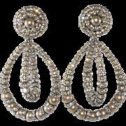 Francoise Montague Statement Earrings Faux Pearl Rhinestone