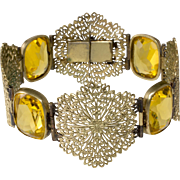Napier 1920s French Filigree Yellow Glass Bracelet