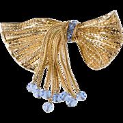 SALE PENDING Napier Huge Bow Brooch Pin Dangling Blue Crystals Vintage