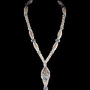 Napier Art Deco 1920s Blue Bead Filigree Sautoir Necklace